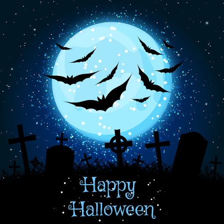 Spooky dark blue vector Halloween background with copyspace