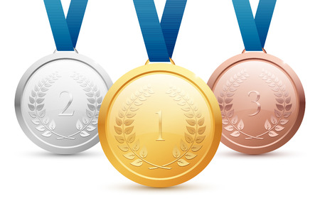 bronze medal: Shiny vector gold, silver and bronze medal set with blue ribbons