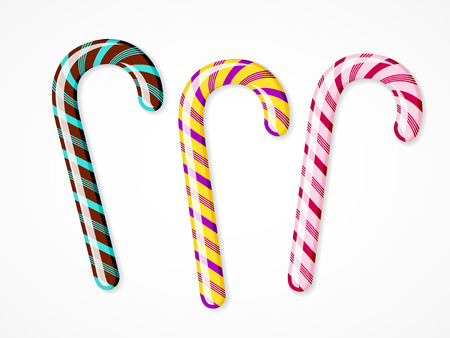 Vector candy canes set on white background. Three colorful Christmas peppermint sticks.