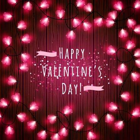 Vector Valentines Day heart-shaped lights border on wooden texture background with copyspace Illustration