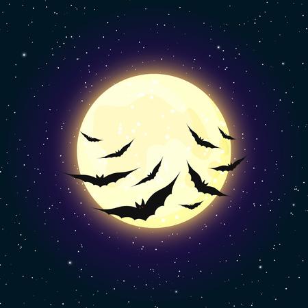 Yellow moon and flying bats Halloween vector illustration. Spooky dark background.