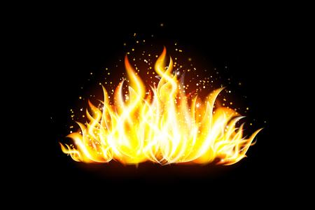 Transparent vector fire design element on dark background Illustration