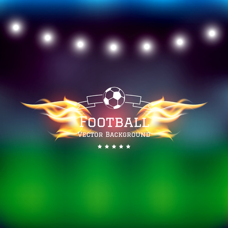 Label with soccer ball icon and fire flames on blurred abstract vector football background