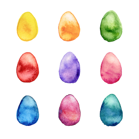 Decorated colorful watercolor Easter eggs vector set
