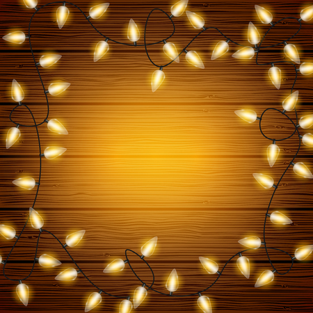 Vector Christmas lights on wooden texture background with copyspace