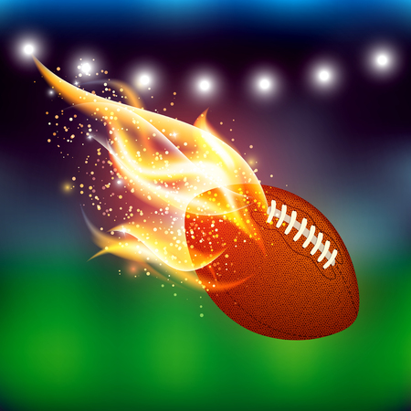 Vector american football ball with fire flames on colorful stadium blurred abstract background