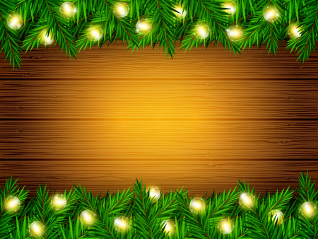 Vector holiday wood texture background with fir branches and Christmas lights Illustration