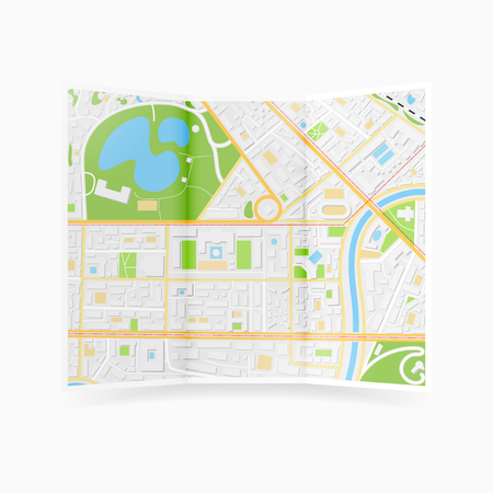 Vector city map brochure on white background