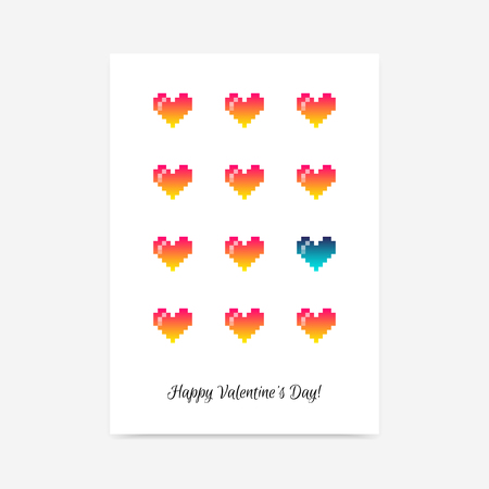Minimalistic clean Saint Valentines Day vector poster background with cute pixel hearts Illustration