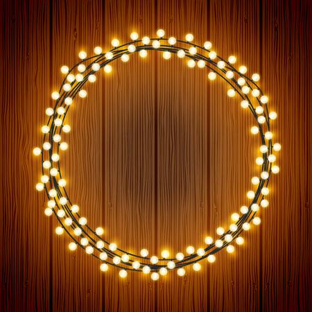 Vector Chrisrmas decorative festive lights wreath on wood texture background Vetores