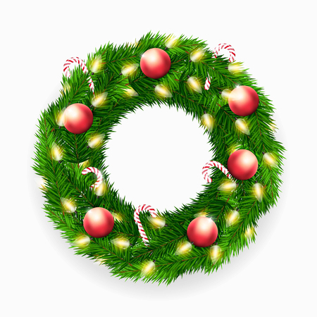 Vector Christmas wreath with candy canes, lights and decorations on white background Illustration