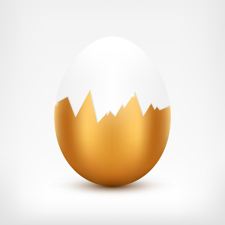 broken eggs: Egg with broken golden shell.