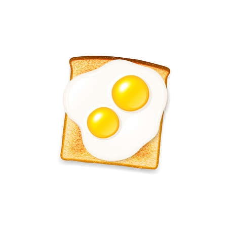 Hot crisp toast with double yolk sunny side up fried egg vector icon