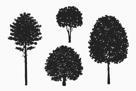 Black isolated tree silhouettes vector set