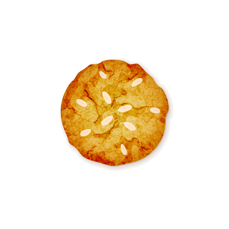 Delicious vector almond cookie icon on white background