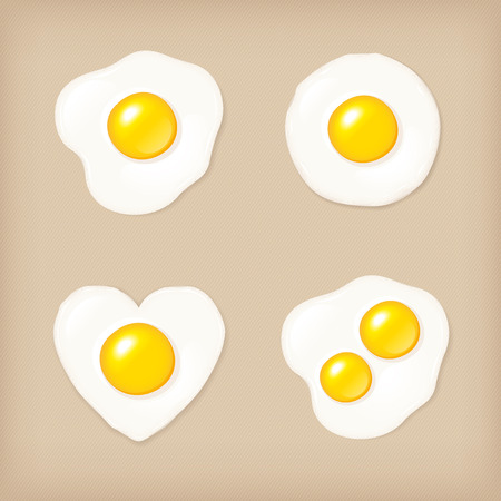 Fried egg vector icon set, vector illustration.