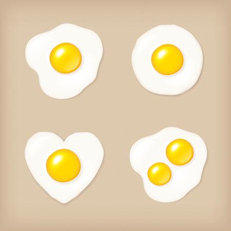 heartshaped: Fried egg vector icon set, vector illustration.
