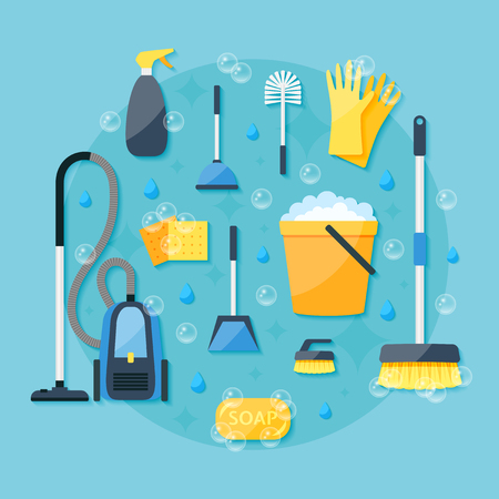 House cleaning service colorful flat design vector icon set Illustration
