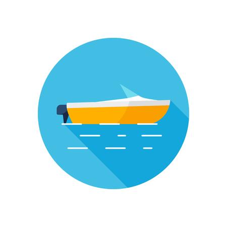 Flat style vector motor boat icon Ilustracja