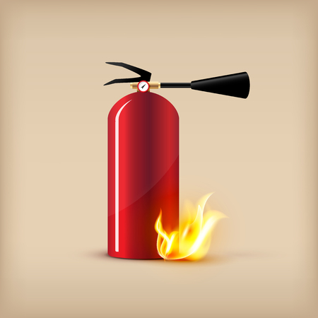 Vector fire extinguisher illustration with transparent flame. Fire protection concept design elements. Illustration