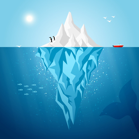Vector iceberg infographics template illustration. Flat style iceberg concept underwater background with infographic design elements.