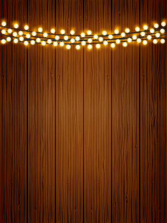 Vector shiny lights chain on wooden texture poster background. Natural wood holiday background with festive round light bulbs.