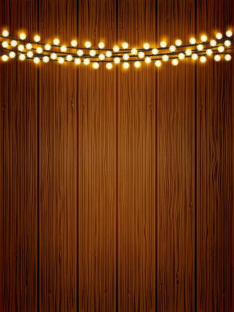 Cadena de luces brillantes de vector sobre fondo de cartel de textura de madera. Fondo de vacaciones de madera natural con bombillas redondas festivas.