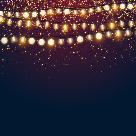 Beau fond de vecteur de Noël bleu foncé avec des paillettes dorées étincelantes et des lumières de Noël brillantes avec fond vide pour votre conception