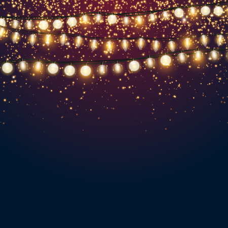 Beautiful dark blue Christmas vector background with sparkling golden glitter and shiny Xmas lights with empty copyspace for your design Reklamní fotografie - 92346574
