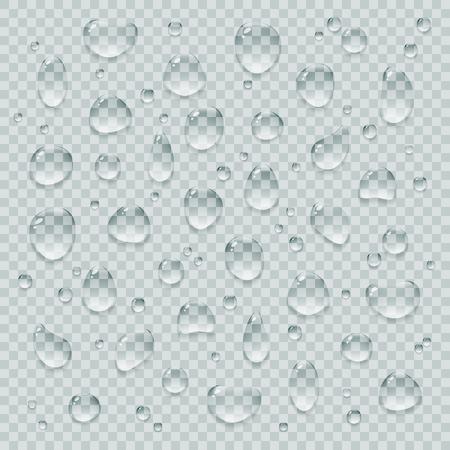 Kristalheldere glanzende realistische vector waterdruppels ingesteld. Transparante pure koele aqua drops designelementen. Stock Illustratie