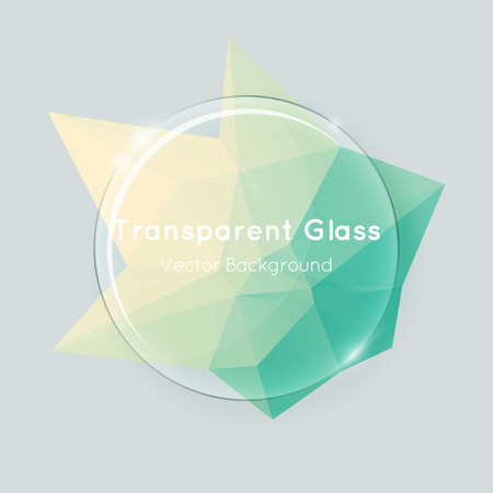 Glass banner vector with green yellow poly background. Abstract transparent round glass with stylish fresh colored polygonal shape.