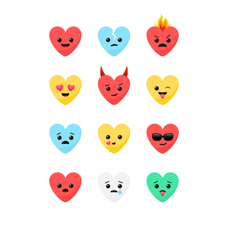 Funny Valentines Day romantic flat design style heart shaped emoji faces vector icon set.