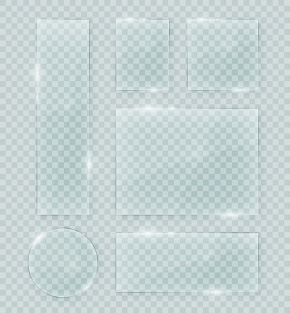 Transparent vector glass shapes. Abstract plastic banner design elements collection with transparency. Иллюстрация