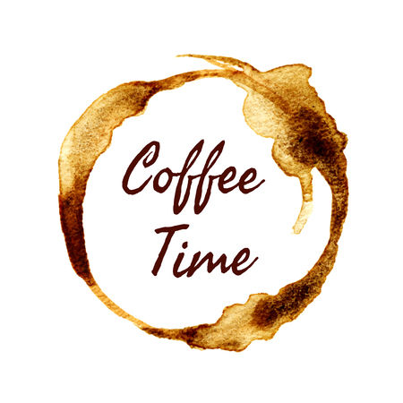 Vector round coffee time label with hand drawn watercolor coffee stain.