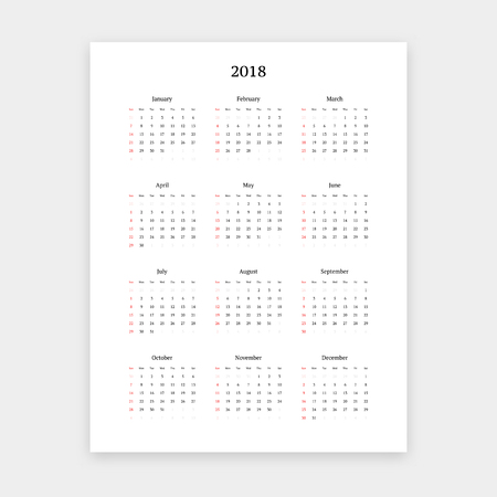 Simple clean 2018 calendar vector template. Фото со стока - 97518699