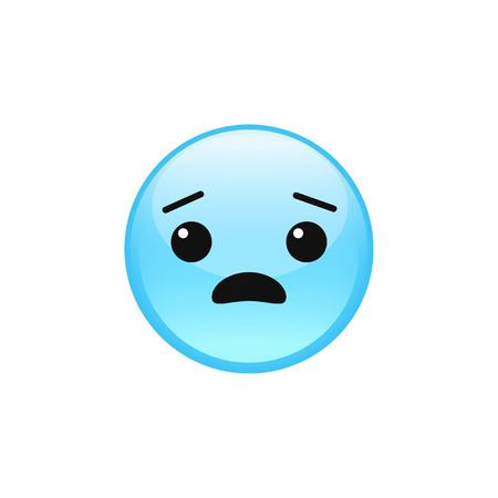 Fearful scared frightened emoji emoticon face vector icon isolated on white background. 일러스트