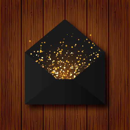 Black paper vector envelope letter with golden shining sparkling glitter on wood texture background. Ilustrace