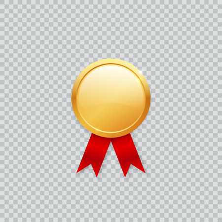 Shiny realistic vector blank empty golden medal mock up template with red ribbon. Фото со стока - 97518704