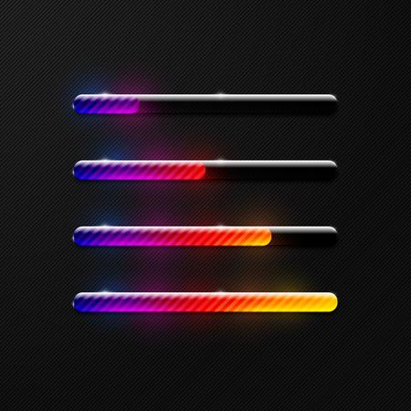 Creative colorful shiny transparent striped freeloader progress bar design element set on dark black background