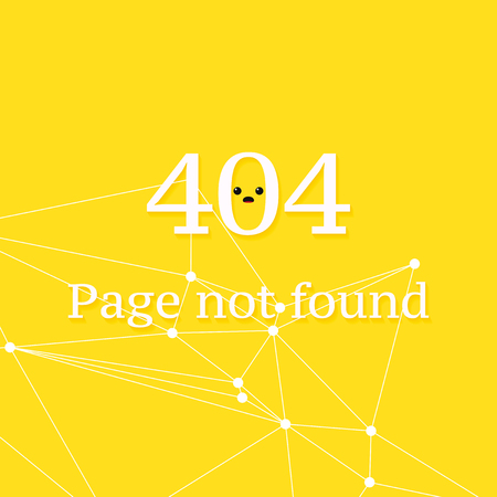 404 error web page not found vector concept template. Astonished emoji face on yellow background with white wireframe design element. Иллюстрация