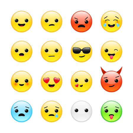Funny yellow isolated emoticons emoji faces vector icon set
