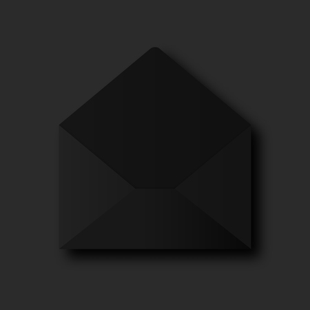Stylish black paper vector envelope on black background. Opened envelope e-mail concept. Фото со стока - 105717688