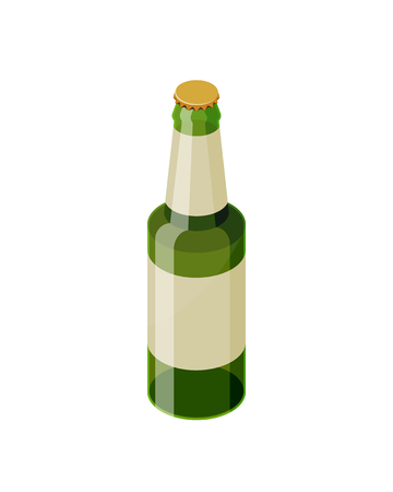 Green isometric beer bottle with blank label vector icon isolated on white background. Transparent glass beer bottle isometric design.
