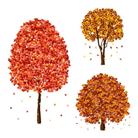 Vector autumn fall trees design element set
