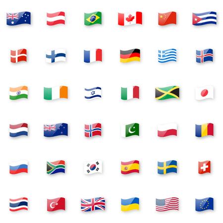 Insieme dell'icona di vettore di bandiere del mondo. Piccole icone lucide lucide della bandiera sventolante con proporzioni e colori corretti. Vettoriali