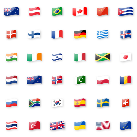World flags vector icon set. Shiny glossy small waving flag icons with correct proportions and colors.