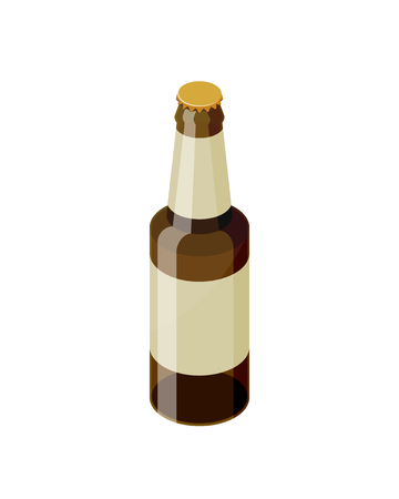 Brown isometric beer bottle with blank label template vector icon isolated on white background. Transparent glass realistic beer bottle isometric design.