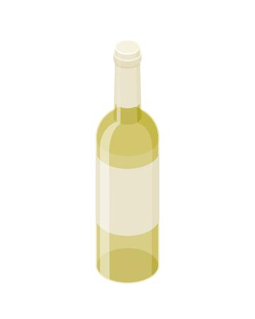White wine isometric bottle vector icon isolated on white background. Transparent glass shiny realistic wine bottle isometric design. Illustration