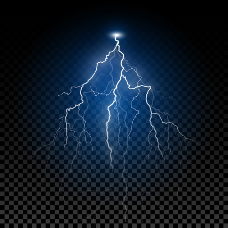 Shiny realistic vector lightning. Thunderstorm flash lightning bolt design element with transparent blue shine. Фото со стока - 111636351