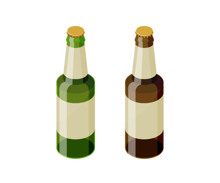 Green and brown isometric beer bottles vector icon set. Transparent glass beer bottle isometric design.